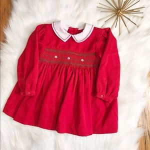 Samara girls Sz 24 M red smocked bishop dress EUC
